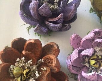Hickory Nut Hull Flowers, 3 Handmade Mums