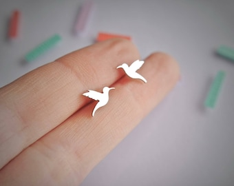 Sterling Silver Hummingbird Earrings / hummingbird jewelry / hummingbird gift / studs / 925 / animals / gifts for her / hypoallergenic