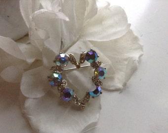 Vintage Aurora Borealis Heart Brooch Rhinestones Estate Valentine Bride Wedding Romantic Prom Valentine Birthday Mother's Day Gift