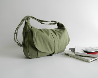 Smoke Green Messenger bag,Women diaper bag,Travel shoulder bag ,Canvas cross body handbag,Gift for her /no.12 KYLIE 25% sale