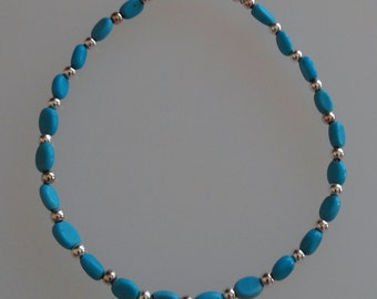 Chalk Turquoise and Silver Bracelet