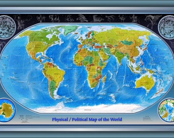 Poster, Many Sizes Available; Physical Political World Map