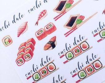 F135--Sushi Planner Stickers for the Erin Condren ECLP or Happy Planner. Planning sushi date nigiri tolls chopsticks soy wasabi