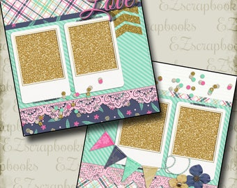 GLITTER GIRL - 2 Premade Scrapbook Pages - EZ Layout 249