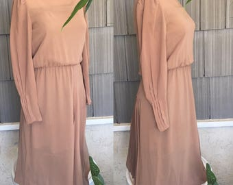 Sheer Albert Nipon 70's 80's dress midi