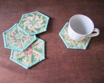 "Quilted Fabric Coasters ""Hexagon Coasters"" Padded Coasters, Mug Rugs, Coffee Coasters, Quiltsy Handmade,"