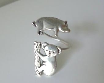 koala pig ring, adjustable ring, animal ring, silver ring, statement ring