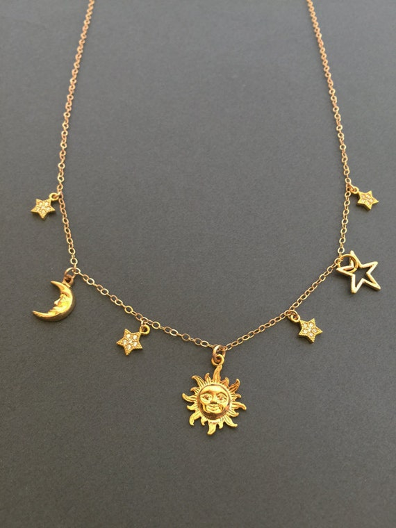 Top Sun and moon necklace Sun charm moon Star necklace Dainty WI04