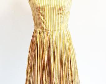 Cheery Yellow Striped 60's Sun Dress Tea Length Garden Party SMALL