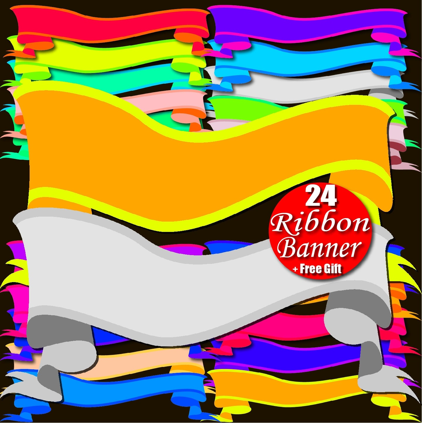 Digital Ribbon Banner Clipart Rainbow Border Frame Tag Ribbon