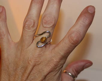 Tiger's Eye Ring Size 9/Rings Handmade/Free Shipping/925 Silver Gemstone Ring/Brown And Silver/Wire Wrapped Ring/Sterling Silver Wire Ring