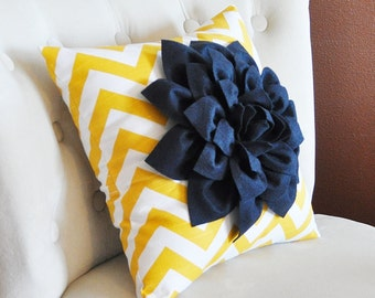 Navy Dahlia on Slub Yellow and White Zigzag Pillow -Chevron Pillow-