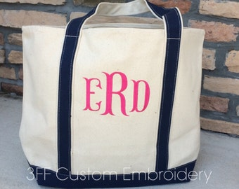8872 Personalized  Extra-Large Canvas Boat Tote Lots of Colors to Choose from Custom Embroidery
