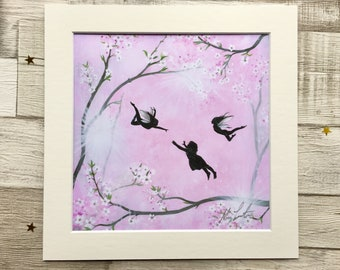 Let your dreams blossom, Fairy Print, Mounted Giclee Print, UK Seller.