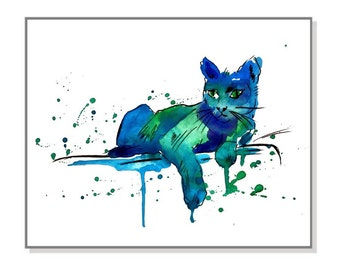 Digital Download,Cat Art Print - Watercolor Painting - Cat Print - Wall Decor, Wall Art