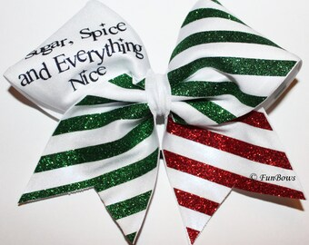 Sugar and Spice Christmas Cheerleading Hairbow LOTS of Glitz by Funbows