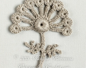 Irish Crochet Applique PATTERN - Angelica Flower Lace Motif - Crochet Gift Idea - Embellishment - DIY Home Wall Decor - PDF