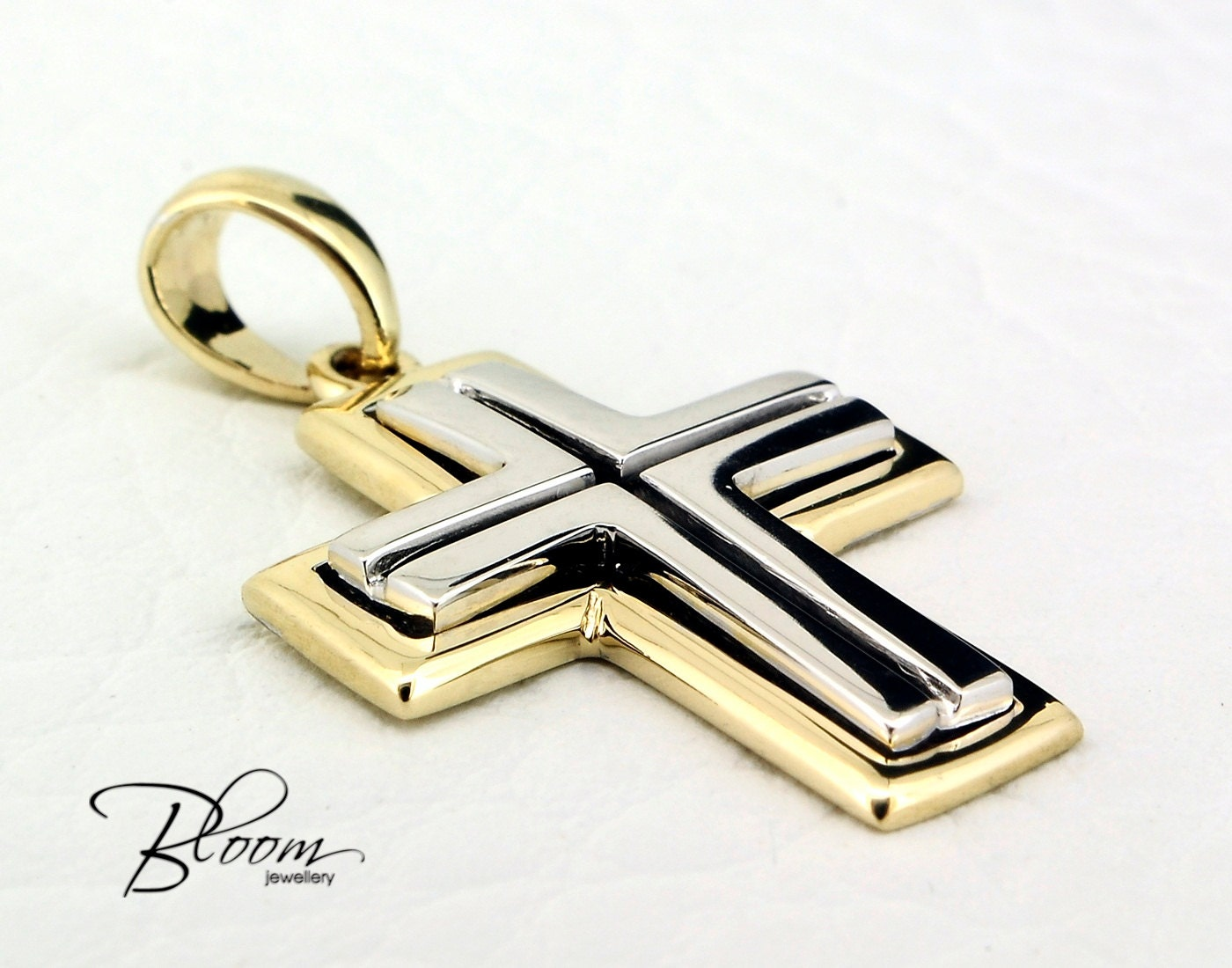 Gold cross for man 14k solid gold cross pendant mens cross zoom mozeypictures Choice Image