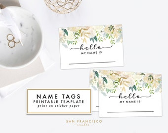 Printable Floral Name Tag - Bridal Shower, Baby Shower, Rehearsal Dinner, Name Tag - Brynne Collection - INSTANT Download PDF File