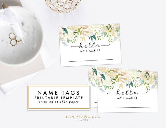 Nice Printable Floral Name Tag   Bridal Shower, Baby Shower, Rehearsal Dinner, Name  Tag   Brynne Collection   INSTANT Download PDF File From SanFranciscoCrafts  ...