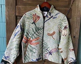 Vintage 80's Semi Crop Dragonfly Woven Blanket Tapestry Jacket by Maxson Tapestri
