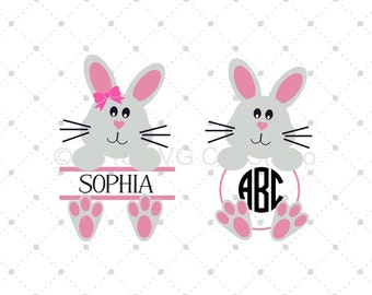 Easter Bunny SVG cut files, Split Bunny SVG, Easter Bunny Monogram svg, Bunny svg cut files for Cricut and Silhouette, svg files
