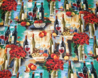 46 Inches AFTERNOON DELIGHT Wine, Flowers Print 100% Cotton Quilt Craft  Fabric 1.28 Yards