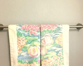 Vintage PASTEL FLORAL Bathroom Hand Towels / 1980s Martex / Set Of Two WATERCOLOR Towels