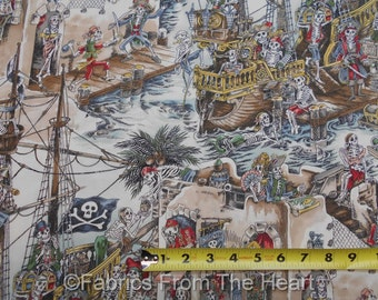 Skelewags Pirates Skeltons Ships Swords Natural BY YARDS Alexander Henry Fabric