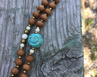 Sandalwood Mala with Howlite & Brass