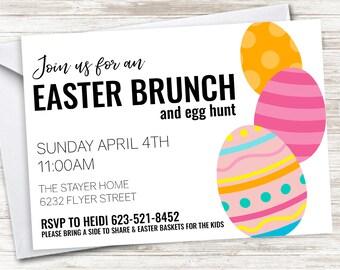 Easter Brunch Invite Invitation Digital Egg Hunt Lunch Themed Party Eggs 7x5