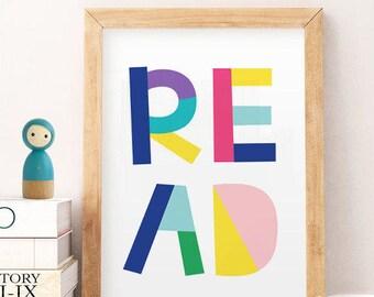 READ Printable, Nursery Wall Art, Nursery Printable, COLORFUL Nursery, Nursery Decor, Baby boy nursery, Baby Girl Nursery, read wall art