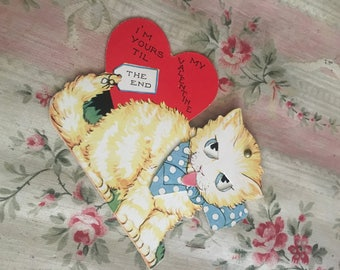 Antique Vintage Valentine's Day Valentine Card - 1940s Mechanical Kitty Cat Sticking Out Tounge