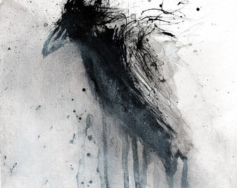 Crow art abstract painting 8x12