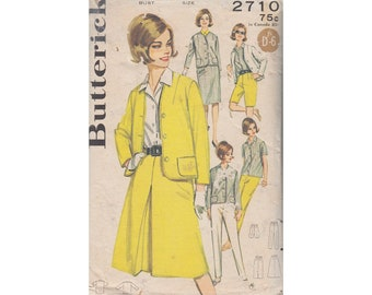 Cigarette Pants Slim Shorts Cardigan Jacket Top Straight Skirt Front Pleat Skirt Butterick 2710 Size 16 Bust 36 Vintage 1960s Sewing Pattern
