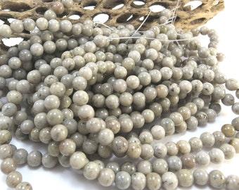 Grey Feldspar Beads, Natural 6mm Round, 16 inch Strand, Gray Beads, Beading Supplies, Item 1018pm