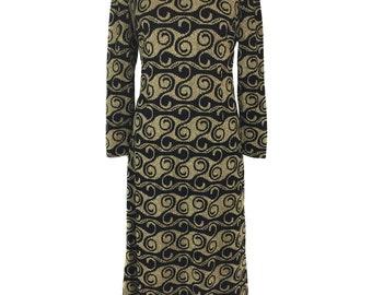 vintage 1970's lurex swirl maxi dress / black gold / swirl wave curl novelty print / women's vintage dress / tag size 16