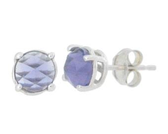 Amethyst Checkerboard Round Stud Earrings .925 Sterling Silver