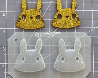 ON SALE! New 2 Totoro heads flexible plastic resin mold set 2 pc