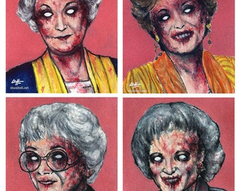 "Prints 8x10"" - Zombie Golden Girls - Zombies Vintage Horror Dark Art Funny Pop Art Vintage Gay Gothic 80s Cult TV Pink Lowbrow Blood Vampire"