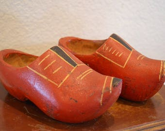 Vintage Small Wodden Pair of Clogs, from the Netherlands, Souvenir Shoes