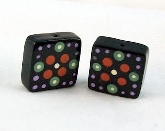Square Handmade Polymer Clay Beads with Hand Painted Dot Motif - Sold in Pairs
