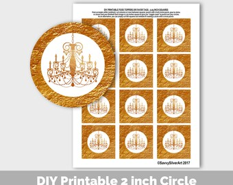 Gold Chandelier Cupcake Toppers, Printable Toppers, Gold Shower Bridal Birthday Decor, Gold Party Favor Tags, Gold Gift Tags Party Decor PP8