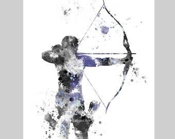 Hawkeye inspired ART PRINT illustration, Superhero, Home Decor, Wall Art, Gift