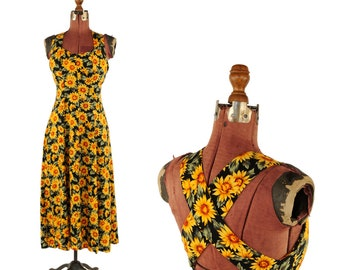 Vintage 90s Rayon Daisy Dress Print Black and Yellow Grunge Sleeveless A Line Long Floral Dress S
