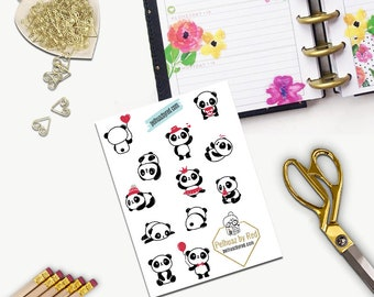 Cute Pandas Stickers, All Happy Planner Stickers, Add On Set, Stickers, Printed, Cut, Functional Sticker, Any Planner, Panda Bear, Bears