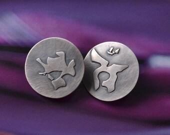Unikat silver disc post earrings