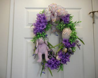 Purple Floral Spring Easter Wreath