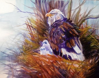 Bald Eagle With Eaglet On Nest Original Watercolor