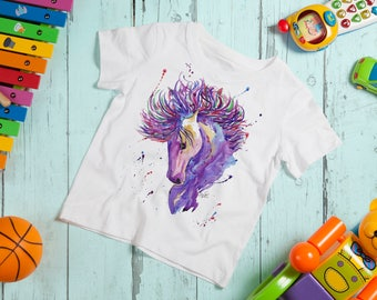 Watercolour Horse T-Shirt, Kids Horses Tshirt, Girls Purple Pony, Child Equestrian Shirt, Horse Lover Gift, Purple Horse Gift For Kids